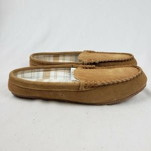 Lands' End Suede Clog Slippers Flannel Lined Tan